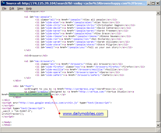 source code of hacked browsehappy.com